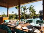 Villa Umah Daun - Dining and pool view