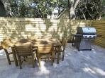 Alternate View of Outdoor Dining and Nice Grill