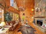Living Room with Fireplace at The Original American Dream