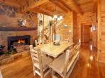 Dining Room with Fireplace at The Original American Dream