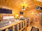 First Floor Bedroom with Two Queen Beds at Smoky Mountain Mist