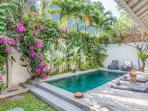 Pool area with tropical plants
