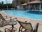 Pool has plenty seating areas.