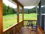 Sit on the front porch facing Deep Creek. Enjoy the sound of the creek and peaceful mountain views.