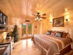 First Floor King Bedroom with Deck Access at The Great Outdoors