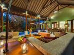 14. Lakshmi Villas - Ubud - Living area view to pool at night