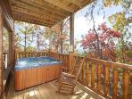 Covered Deck with Hot Tub at Summit View