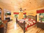 King Bedroom with Fireplace at Moonbeams & Cabin Dreams
