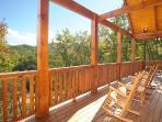 Main Level Deck with Rocking Chairs at Moonbeams & Cabin Dreams