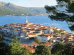 Panoramic view of the old town of Korcula