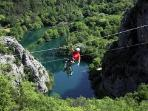 ZIP-LINE over canyon of the river Cetina, approximately 20 min driving