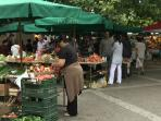 open market in small town Omiš with local products, fruit and vegetable