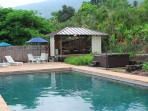 Outdoor gazebo with private pool and hot tub are yours to enjoy and relax at