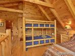Twin Bunkbeds in Lofted Bedroom at Wilderness Lodge