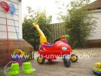 There is a wide selection of beach and garden toys stored in the garage.