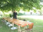 The garden features a huge picnic table for meals with friends old a new ...