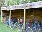 Our new bike shed has a range of family bikes to borrow