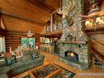 Living Room with Cathedral Ceilings at Waters Edge Lodge