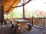 Main Level Deck with Picnic Table at Waters Edge Lodge