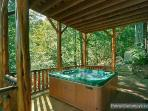 First Floor Deck with Hot Tub at Waters Edge Lodge