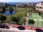 View from the terrace , overlooking the sea & paddle courts.