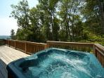 Deck with Hot Tub at Mountain Lake Escape