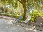 Relaxing beside pool