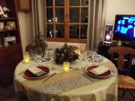 Festive Table laid for a romantic dinner over the harbour. Every Prop at disposal in the flat