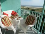 A beautiful view over the wide and white beaches from our comfortable chairs.