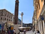 Vicenza historic center architecture by Andrea Palladio, Thursdays are market day shown in photo