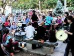 Regular drum circles in the Village Green