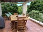 Hadeda Cottage private verandah with barbecue facilities and  four sun loungers