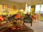 Living area at sunset. New artwork, curtains and upholstery in October 2015