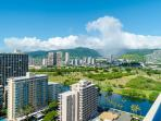 Mountain and the Ala Wai canal view from the lanai.