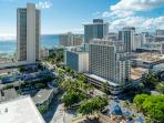 View of the Ocean and hotels in Waikiki.