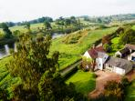 Boathouse Cottage - aerial view looking downstream towards Norham Bridge