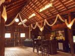 2nd floor of the barn, with bar, mini fridge, chandeliers from Pottery Barn.  All lights dimmable.