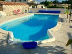 The solar heated swimming pool