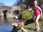 The River Barle at Withypool Bridge.  A great place to play!