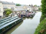 The canal is a colourful sight, just 5 minutes walk from us.