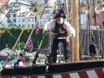 The Golden Hind & Pirate in the harbour!