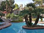 pool with lots of palm trees, tables & seating