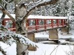 The charming covered bridge over the Poplar River next to Lutsen Resort is within walking distance