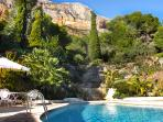The villas huge private heated pool (separate jacuzzi behind) in stunning location & views