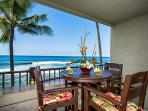 So close to the surf! Seating for five! No looking through bars here! (Right side of large lanai)