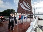 An early morning Tai Chi session on the ship's sundeck is the perfect way to start your day