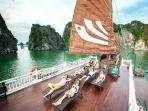 Perhaps the most iconic place from which to enjoy the majestic scenery of Halong Bay is sundeck