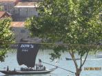 View of the rabelo boat from the kitchen window