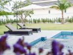 sunbed near pool