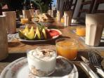 Breakfast included in the price, served on the see view terrace.